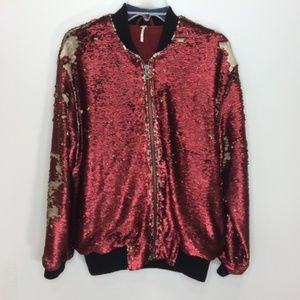 Free People Red Sequin Bomber Jacket